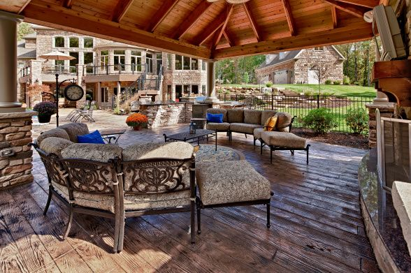 Outdoor Living Space, Pool Cabana Combined With Fireplace For Multi Seasonal  Use. Floor