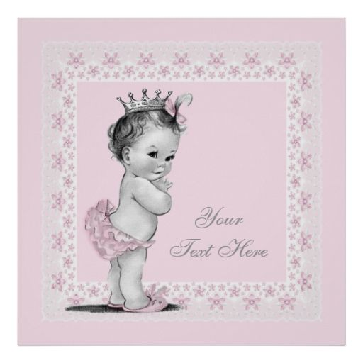 Adorable Princess Pink Vintage Baby Girl Poster Zazzle Com Baby Shower Invites For Girl Vintage Baby Girl Vintage Baby Shower Invitation