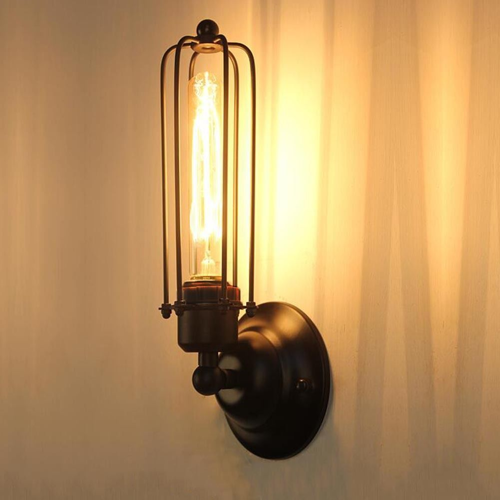 Long Cage Shade Metal Vintage Retro Industrial Ceiling Wall Light