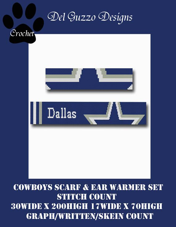 Dallas Cowboys Inspired Scarf & Ear Warmer Crochet Graph Graphghan ...