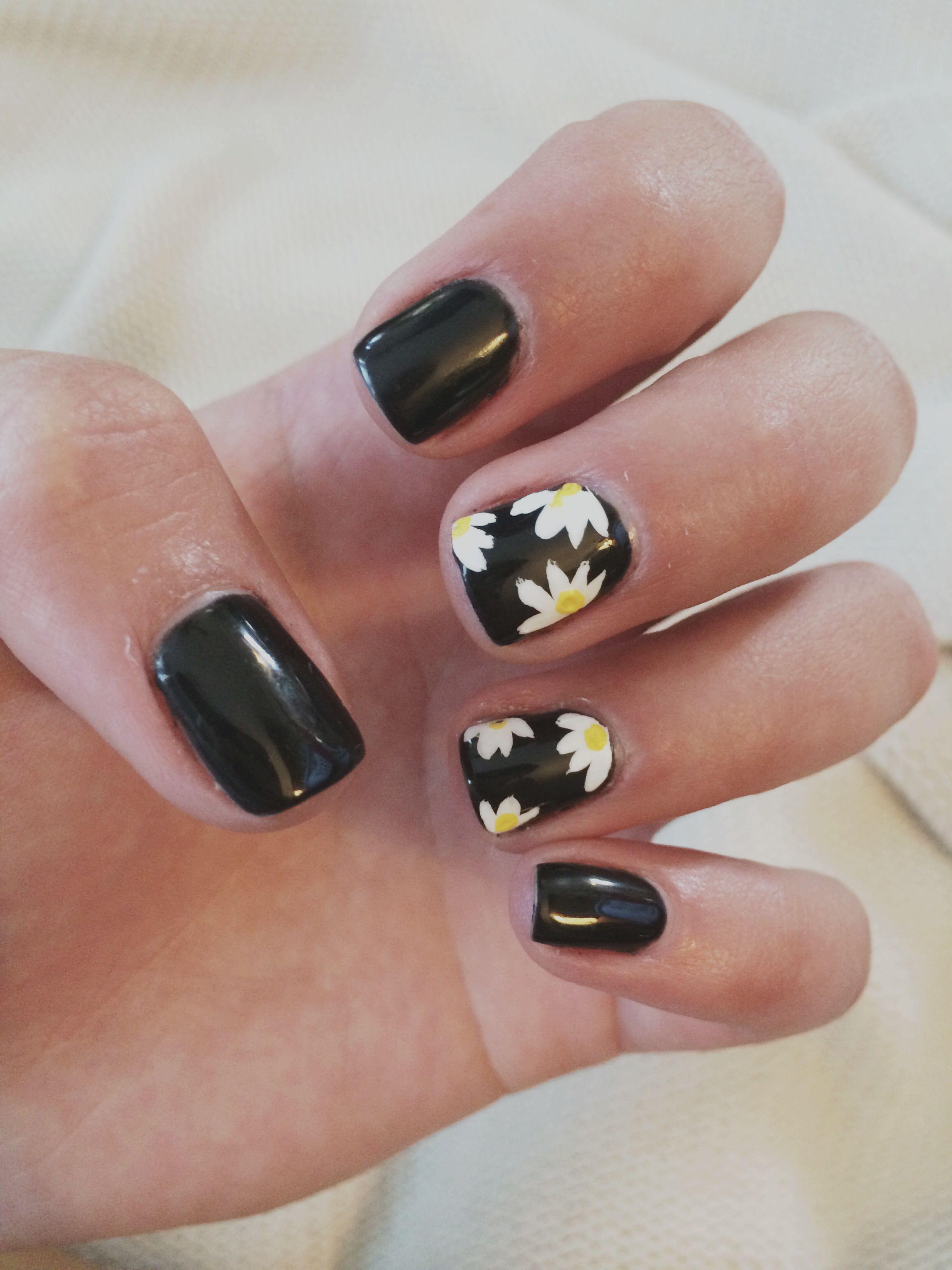 Daisy nail design on Black Shellac Nail Polish | Nail Salon ...