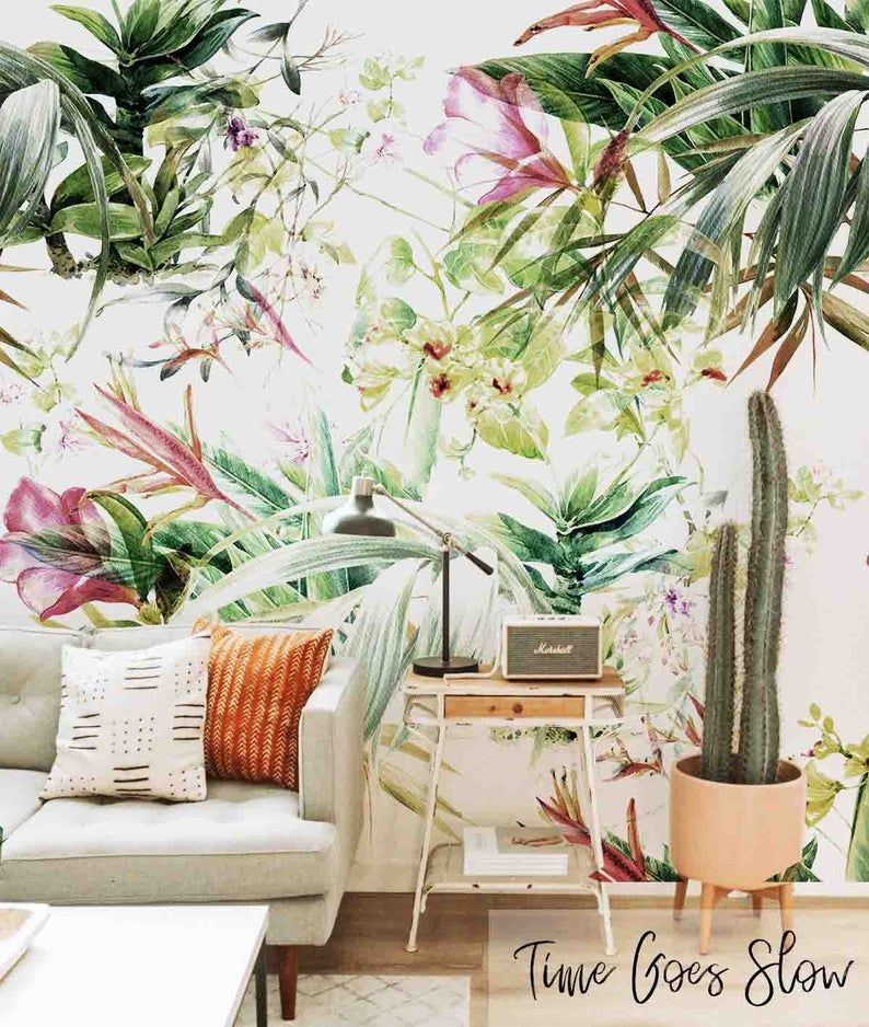 Subtletropical Removable Wallpaper Abstract Illustration Etsy Fantastic Wallpapers Removable Wallpaper Tropical Bedroom Decor