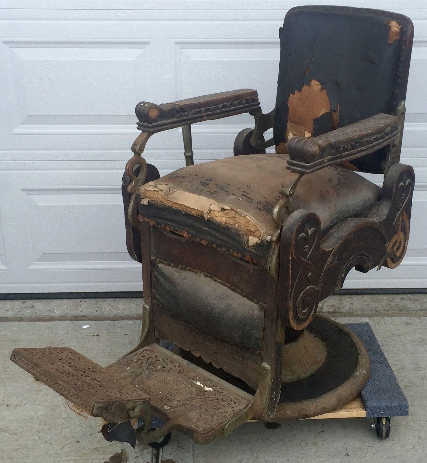 RARE Antique Oak Congress Style Koken Barber Shop Chair 1901 Working  Hydraulics | eBay - Rare Antique Oak Congress Style Koken Barber Shop Chair 1901 Working