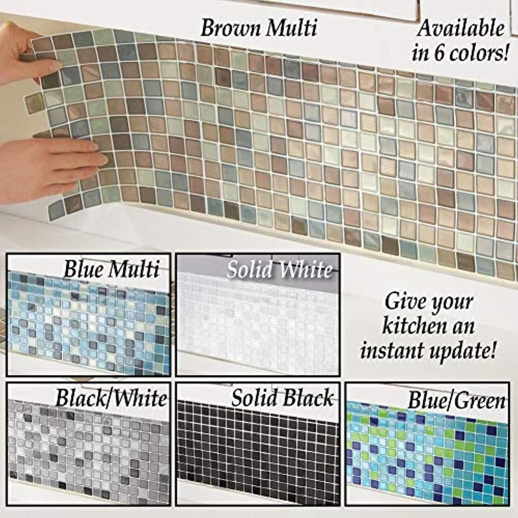 - Collections Etc Multi-Colored Adhesive Mosaic Backsplash Tiles For