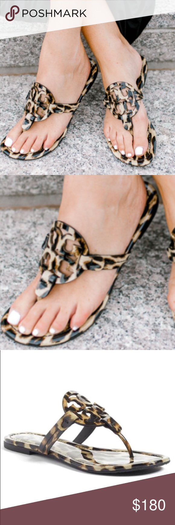 0e71645f5 New Patent Leather Miller Sandals Gorgeous Tory Burch Miller Sandals in  Natural Leopard Print. Super cute and right on trend with animal print being  so hot ...