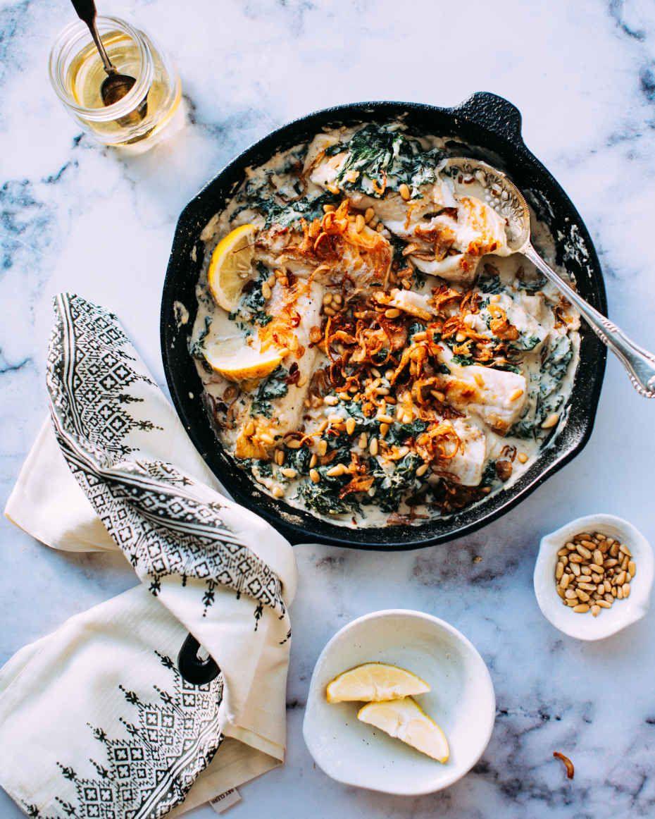 Pan-Seared Fish in Garlicky Tahini Sauce with Kale