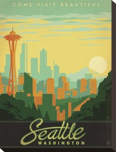 Seattle Stretched Canvas Print by Anderson Design Group at Art.com ...