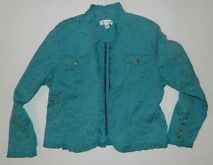 Misses Coldwater Creek Teal Green Tapestry Style Jacket w Ruffles Size LG Womens | eBay