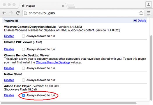 Select Always allowed to run | crome plugin