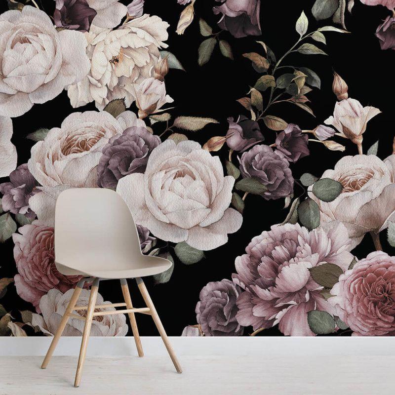 Purple & Pink Dark Floral Wallpaper Mural Floral