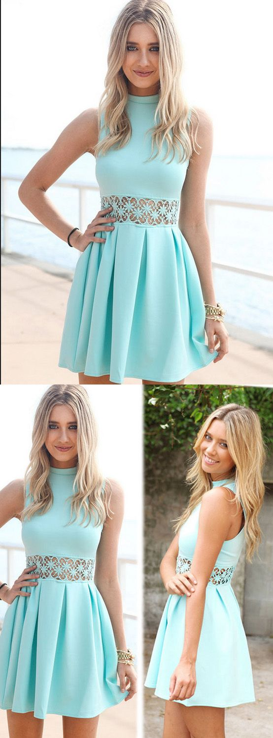 Discount sleeveless dresses short sage party homecoming dresses with
