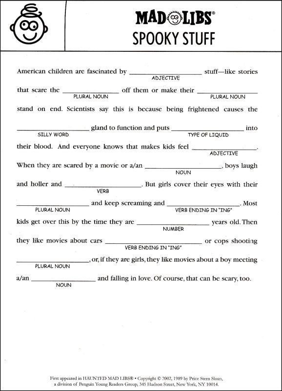 This is a photo of Simplicity Printable Mad Libs for Teens