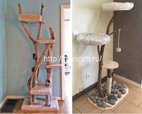 Дерево и домик для кошки – интересные идеи своими руками ...
