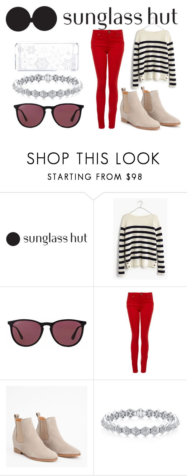 """""""Celebrate in Every Shade with Sunglass Hut: Contest Entry"""" by milica-bircevic ❤ liked on Polyvore featuring Madewell, Ray-Ban and Paige Denim"""