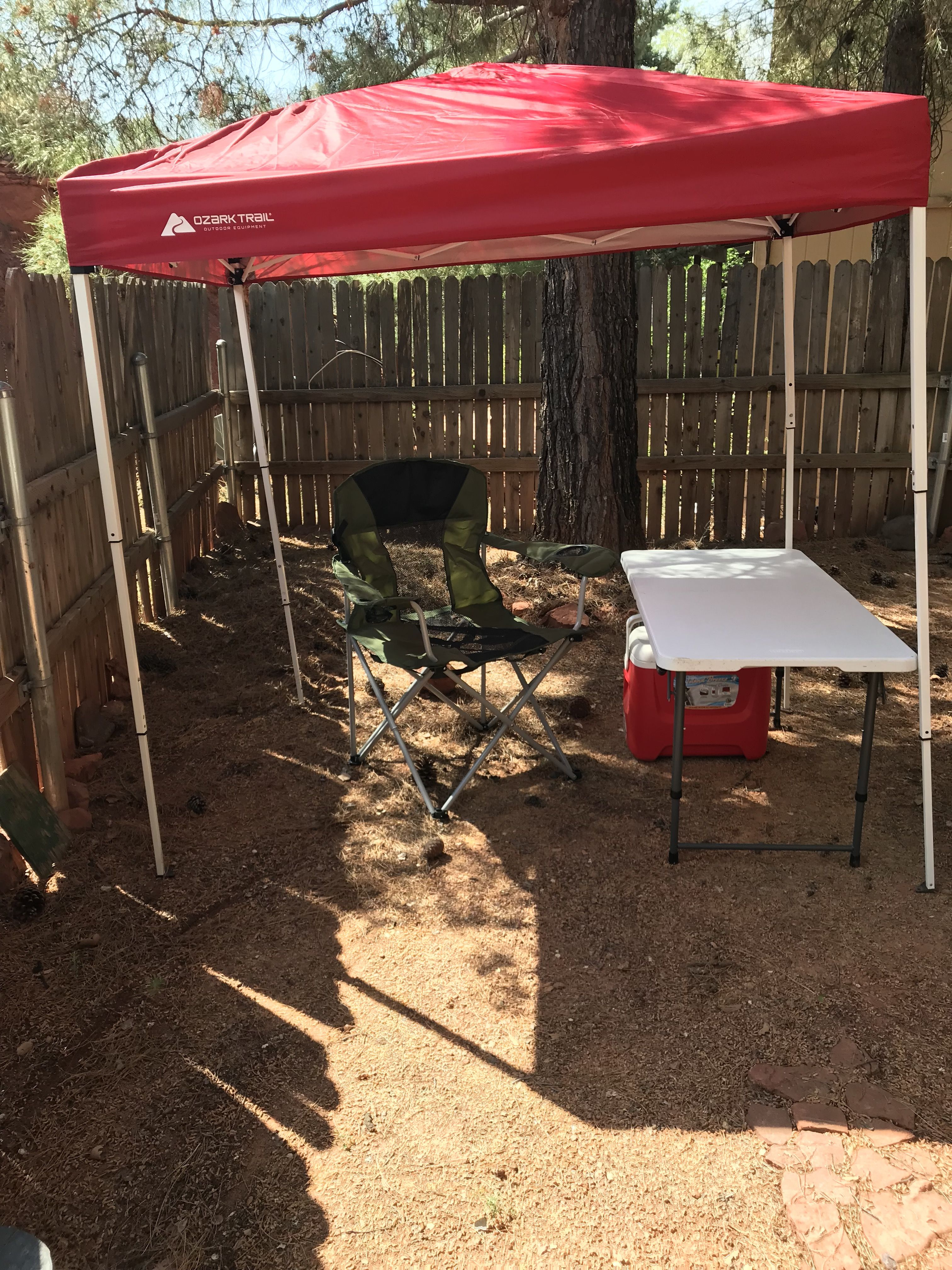 also bought an ozark trails folding camp chair and a lifetime 4 x 2