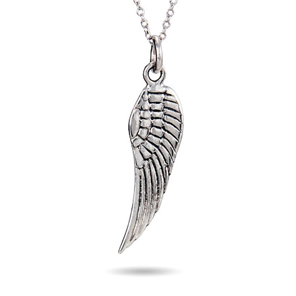 sterling pendant necklace wing silver angel zirconia single pave cubic cz product