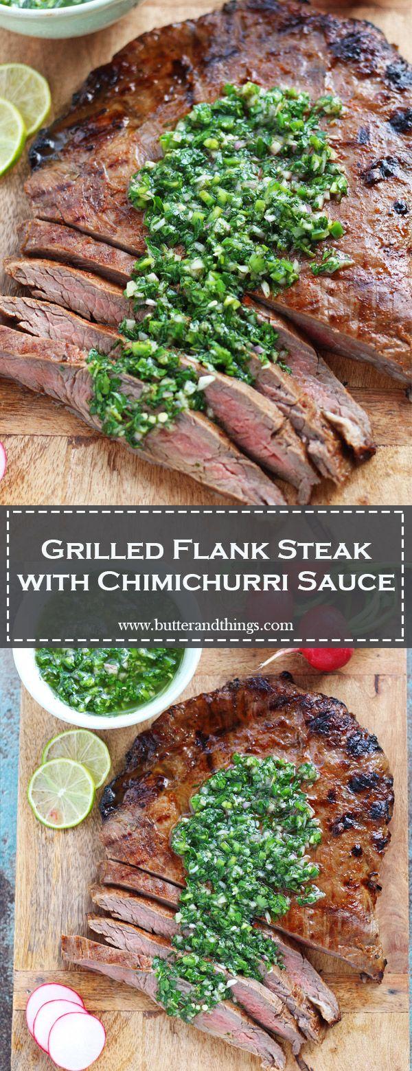 Grilled Flank Steak with Chimichurri Sauce #recipesforflanksteak