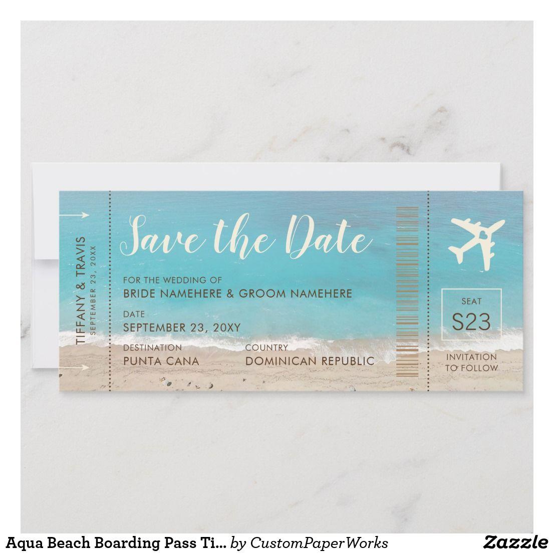 Aqua Beach Boarding Pass Ticket Save The Date Card