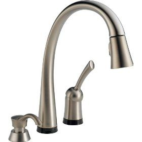 Saw This Pull Down Faucet In A Kitchen Must Have One Day It Turns On And Off By The Touch Of Y Touch Kitchen Faucet Touchless Kitchen Faucet Kitchen Faucet