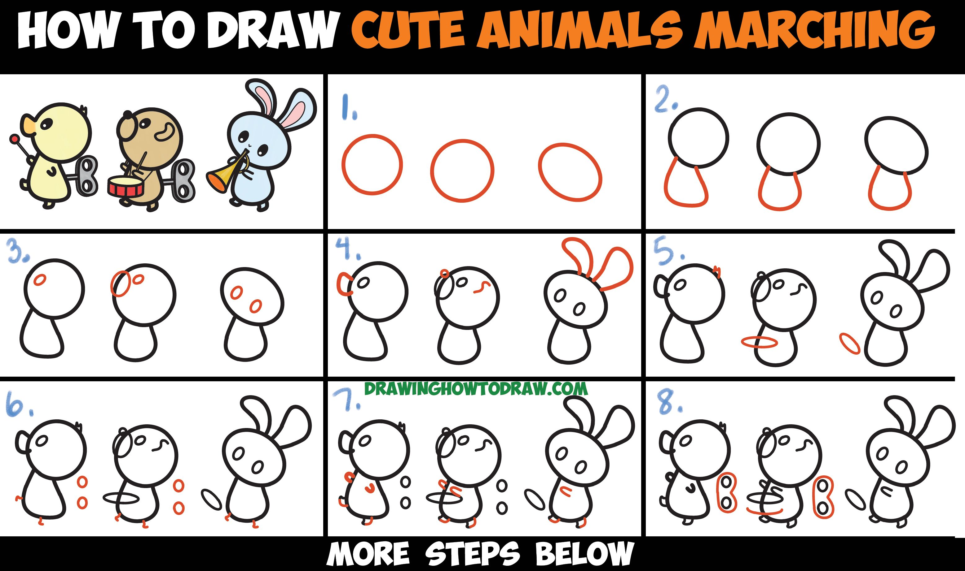 How To Draw Cute Kawaii Animals Marching In A Musical Band Easy