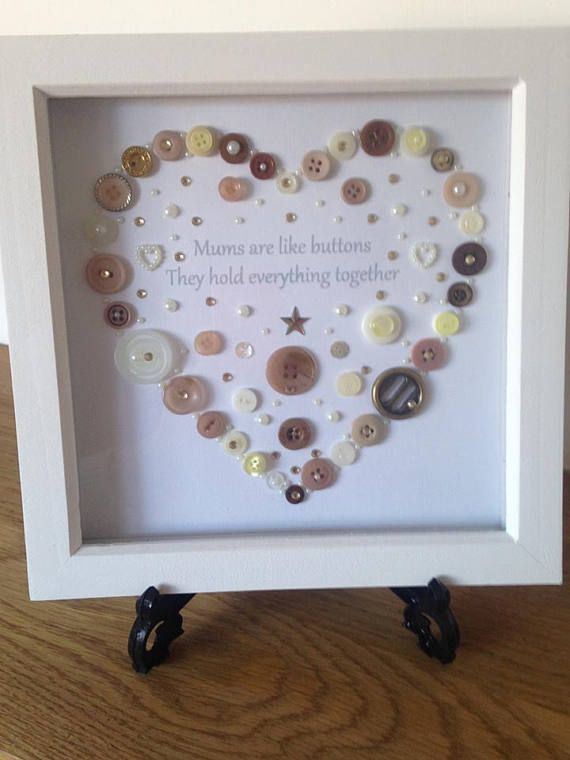 Mums Button Art Heart Picture Heart Gift Mum Mother Step