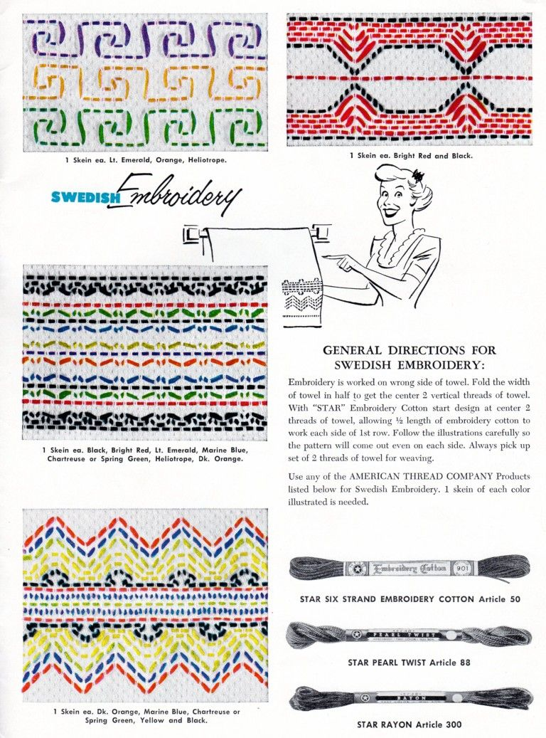 Swedish Embroidery Pattern Sheet - Vintage Crafts and More | Swedish ...