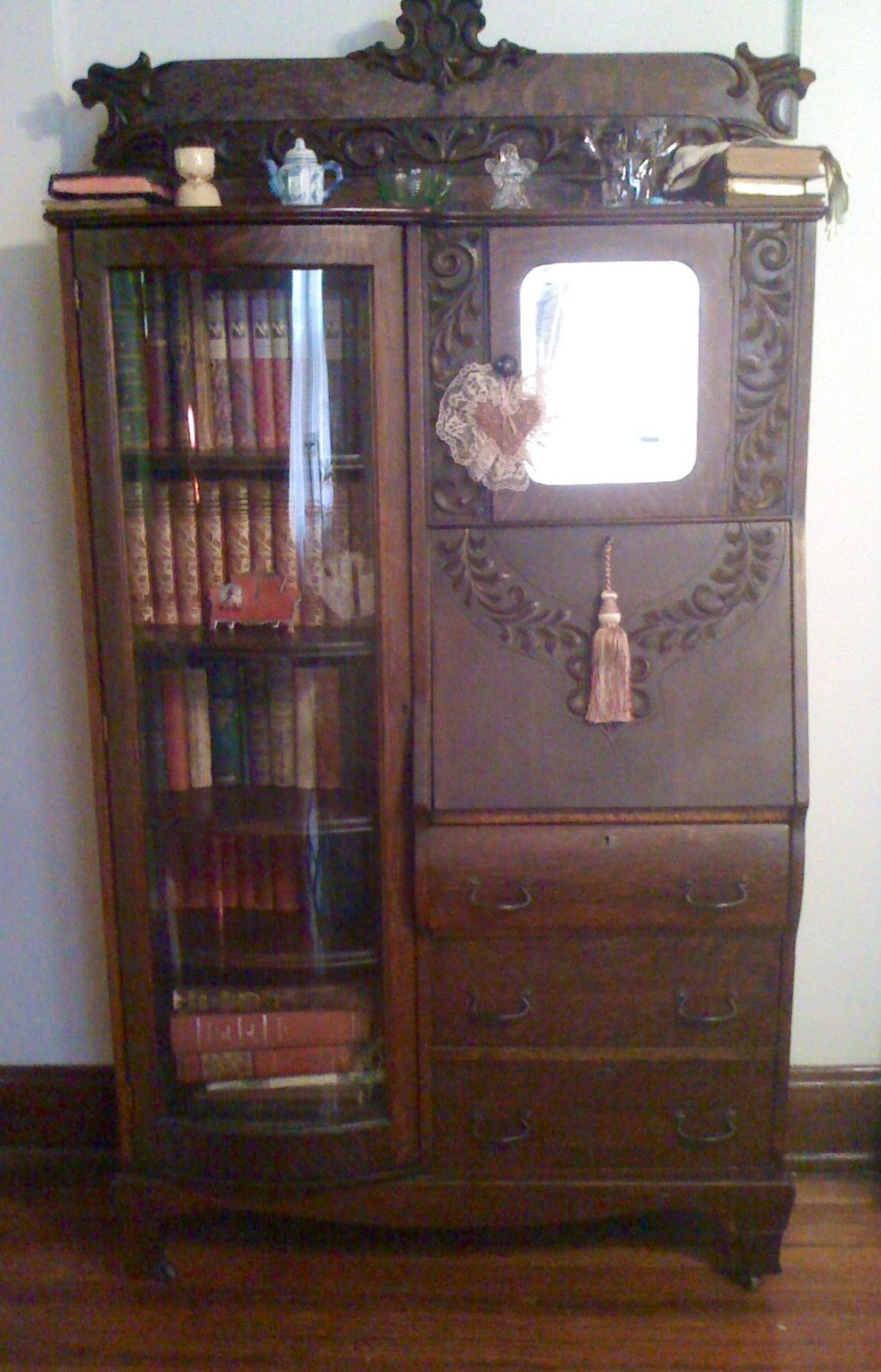 My antique Victorian secretary-bookcase with curved glass. Probably from Grand  Rapids. I love furniture that looks like it might stomp across the room ... - My Antique Victorian Secretary-bookcase With Curved Glass. Probably