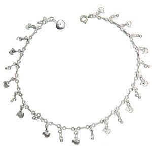 Sparkle Saturn Style Chain Anklet In Sterling Silver
