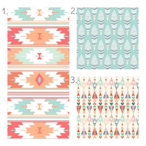 Coral Mint Tribal Crib Bedding Set Girl Crib Sheet Crib Skirt