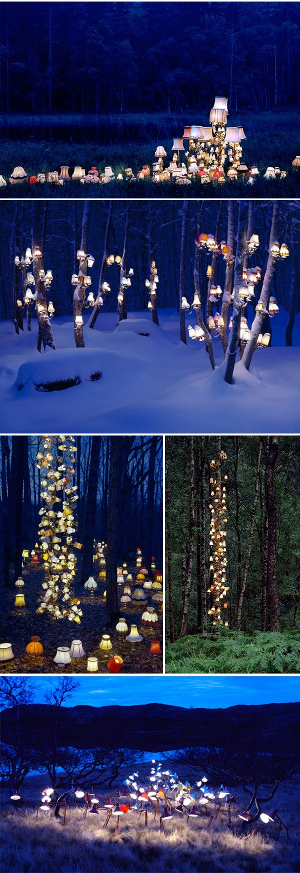 Outdoor lamp art arranged and photographed by Norwegian artist Rune Guneriussen