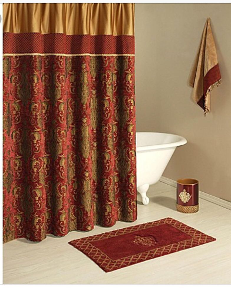 Austin Horn Classics Montecito Shower Curtain Red Gold Tapestry