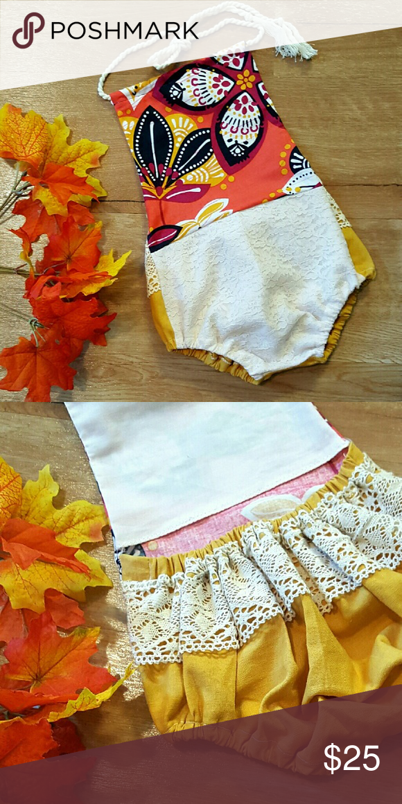 Vintage style romper This vvintage little number is oozing with classic fall colors, burnt orange, mustard and vibrant purple. Custom made romper, vintage style, baby size 3-6 months draw string neck cotton/lace mix fabrics. Other