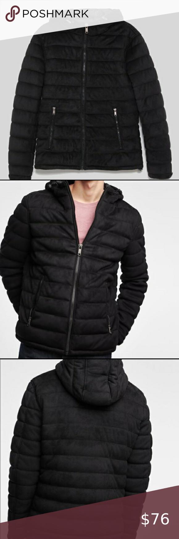 Zara Mens Black Faux Suede Puffer Jacket Puffer Jackets Zara Jackets [ 1740 x 580 Pixel ]