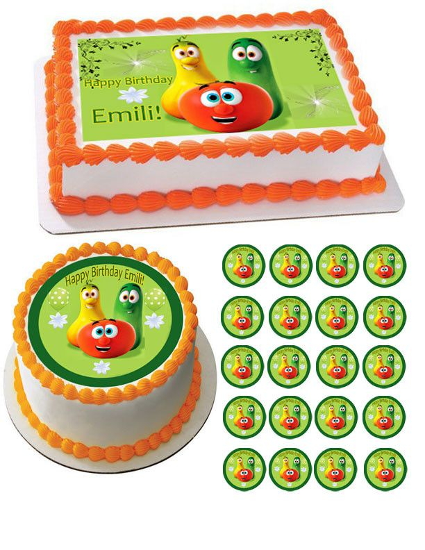 Veggie Tales Characters 5 Edible Birthday Cake Topper Or Cupcake