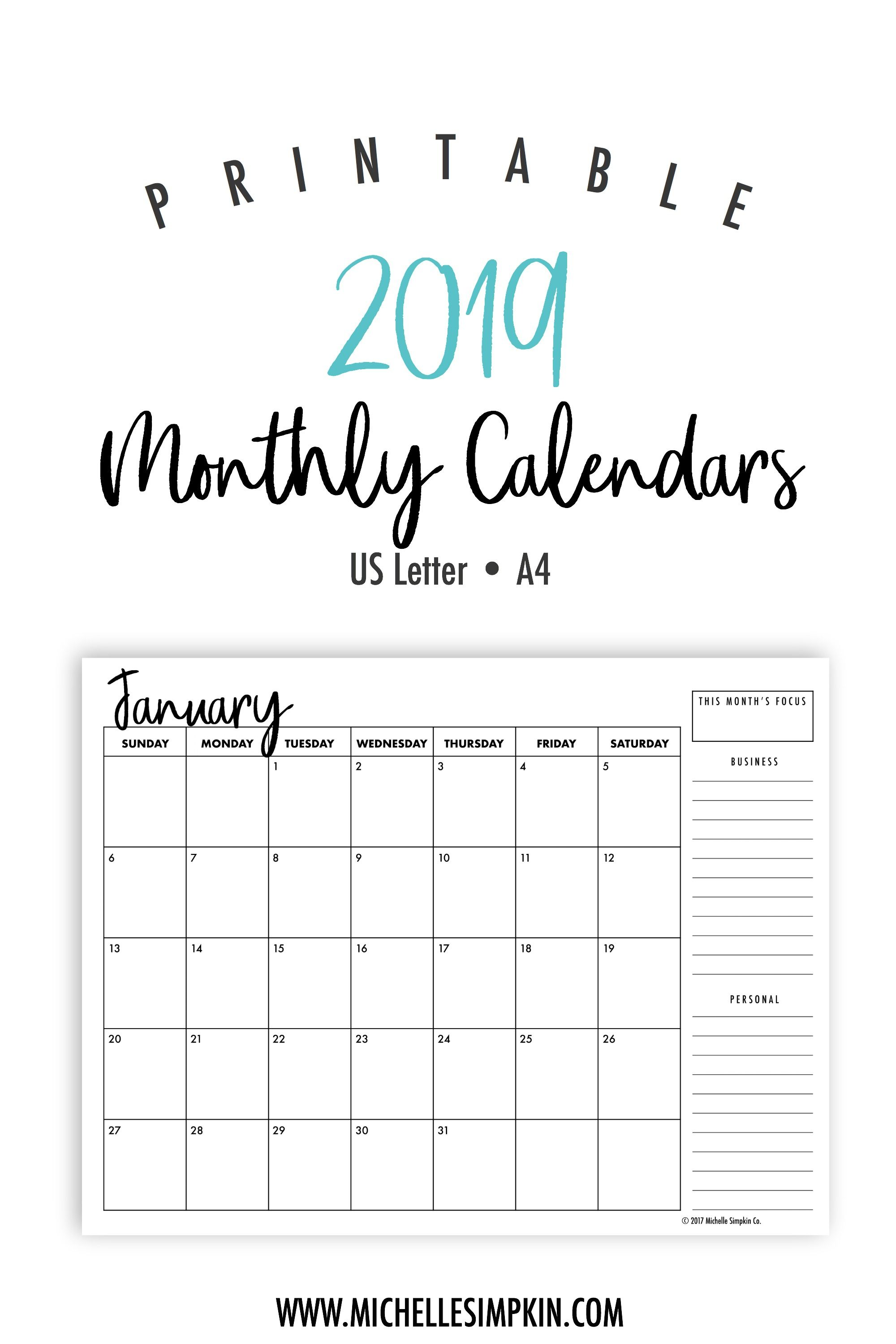 Calendar 2019 Monthly 2019 Printable Monthly Calendars • Landscape • US Letter • A4