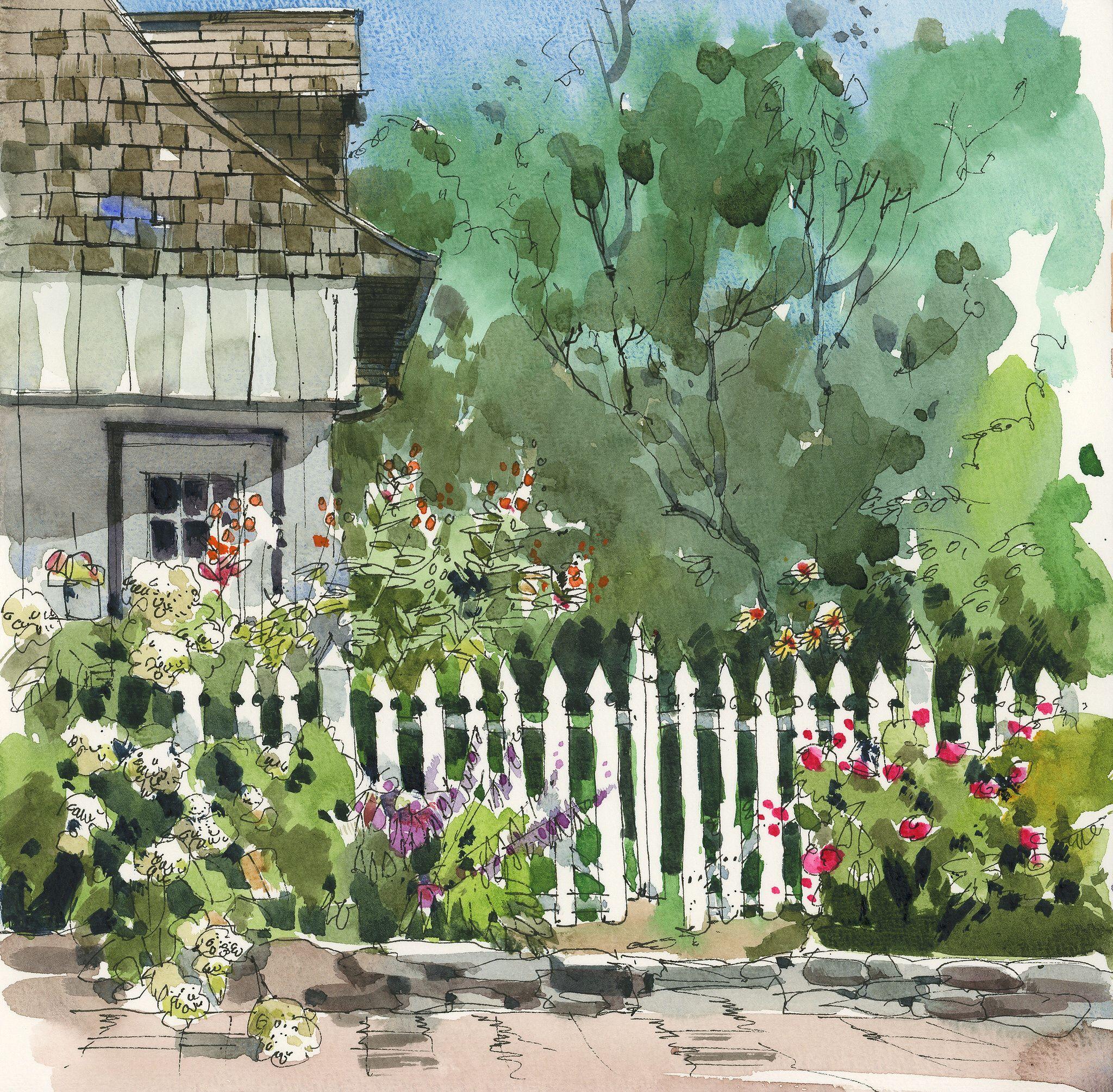 Garden At Antoine Pilon House Arbres En Aquarelle Idees D