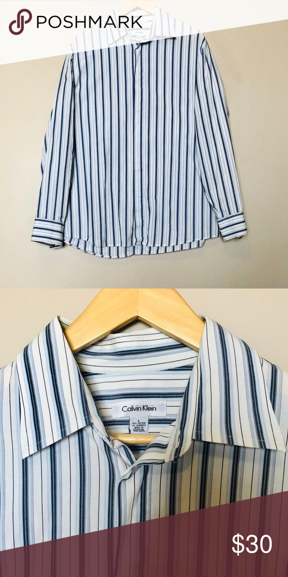 Calvin Klein Men's Striped Button Down Shirt SizeL