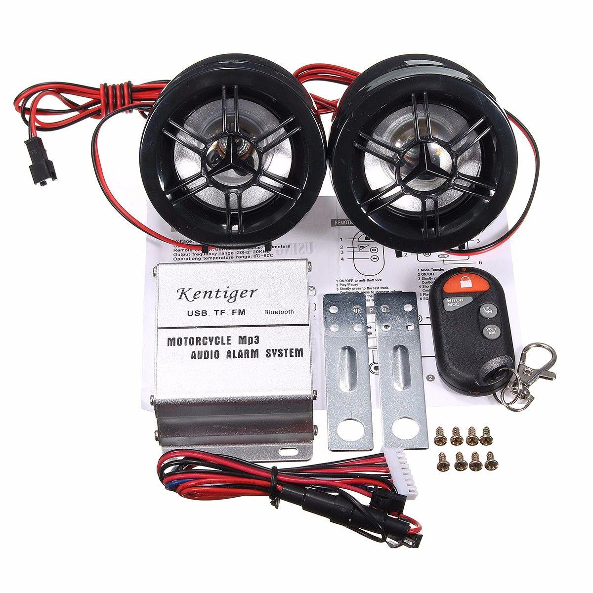 Motorcycle Audio Stereo Fm Mp3 Amplifier Speaker Anti Theft Alarm