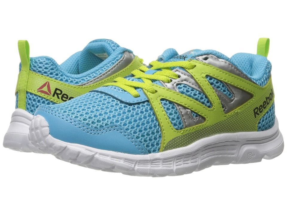 Reebok Kids Run Supreme 2.0 (Little Kid Big Kid) Girls Shoes Blue Beam Kiwi  Green White 74ec0341a