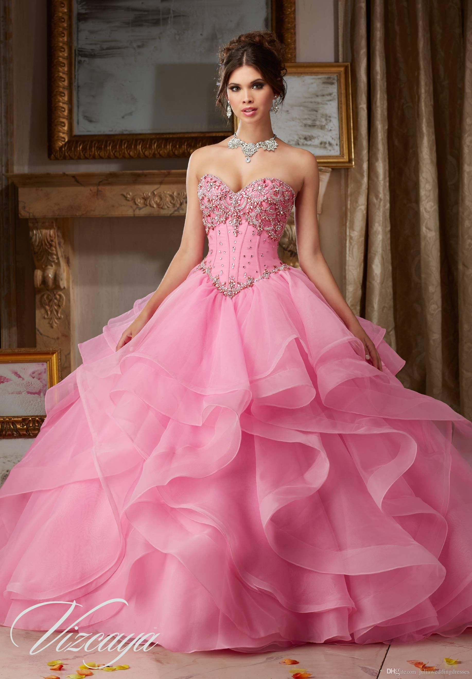 2017 Pink Champagne Ball Gown Quinceanera Dresses With Beaded ...