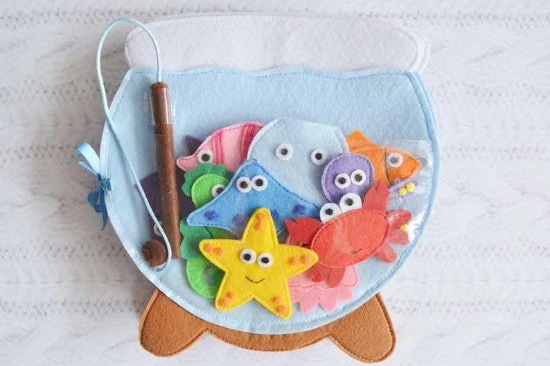 Felt Quiet toddler book Busy toy Baby activity book Magnetic fishing game Aquarium with fishes Sensory travel toy #felttoys