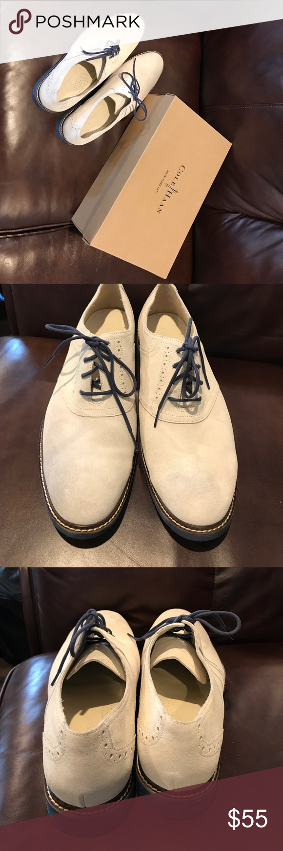 6e8dfdb0414 Cole Haan NYC White Suede Shoes Size 13. Air franklin saddle shoes. Slight  scuff marks from use. Blue laces. Nice used condition. Comes with original  box.