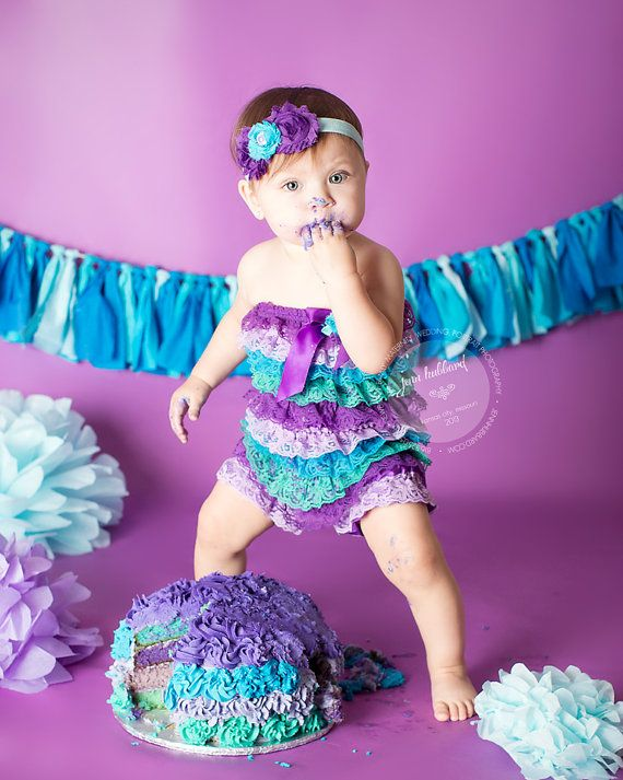Petti Romper - 3 pc SET- Purple & Aqua Baby Romper- Baby Girl Rompers -Ruffle Rompers - 1st Birthday Outfit - Petti Baby Romper on Etsy, $39.99
