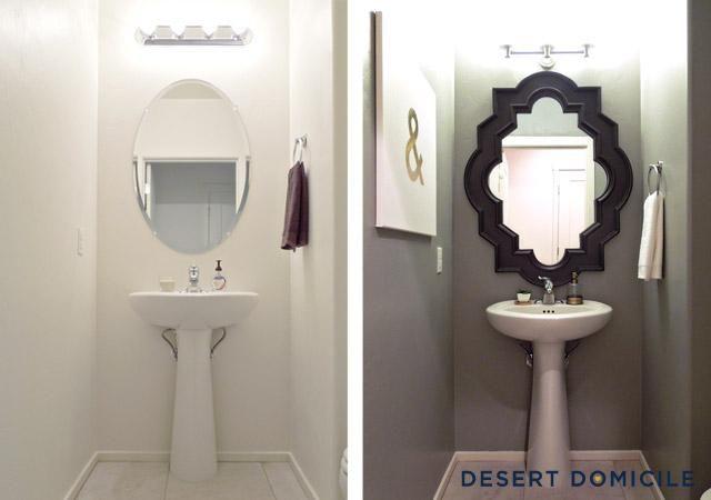 Powder Room Reveal Powder Room Small Powder Room Mirror Half Bath Decor
