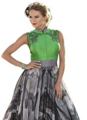 Designer multicolour printed bhagalpuri gown