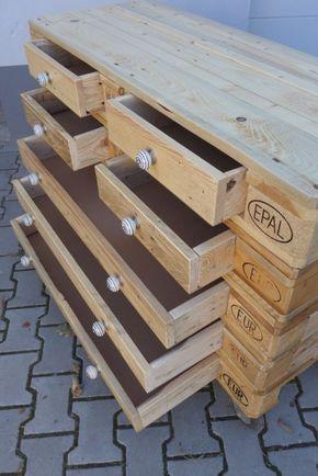 Palettenmöbel Gartenmöbel Europalette Sideboard Schubladen selber