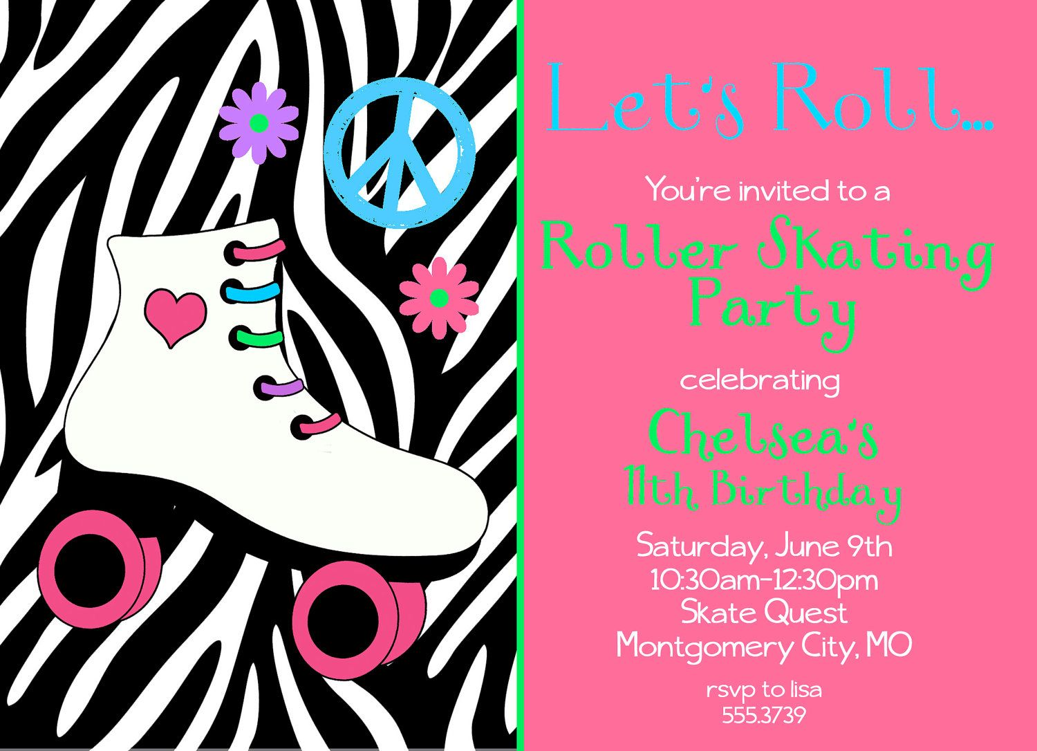 Let\'s Roll-A roller skating party invitation, personalized and ...