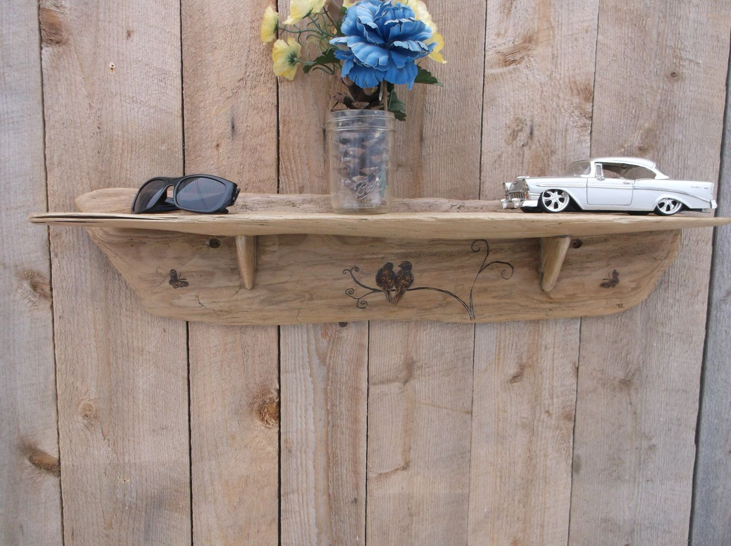 Lovebirds and butterflies on rustic driftwood wall shelf beach lovebirds and butterflies on rustic driftwood wall shelf beach wedding gift beach decor amipublicfo Images