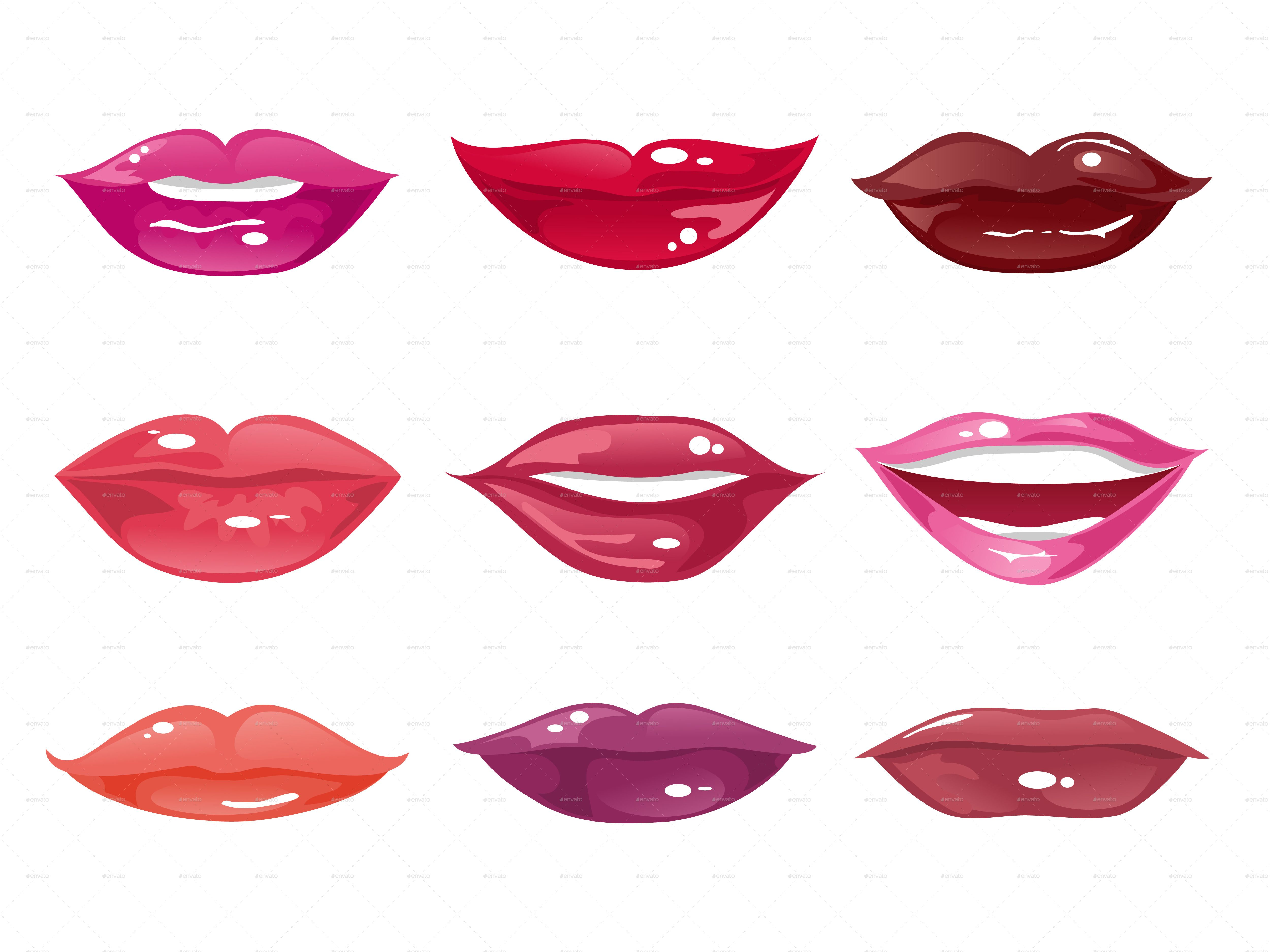 Set Of Female Lips On A White Background Ad Female Sponsored Set Lips Background Lipstick Shades Female Lips Different Shapes