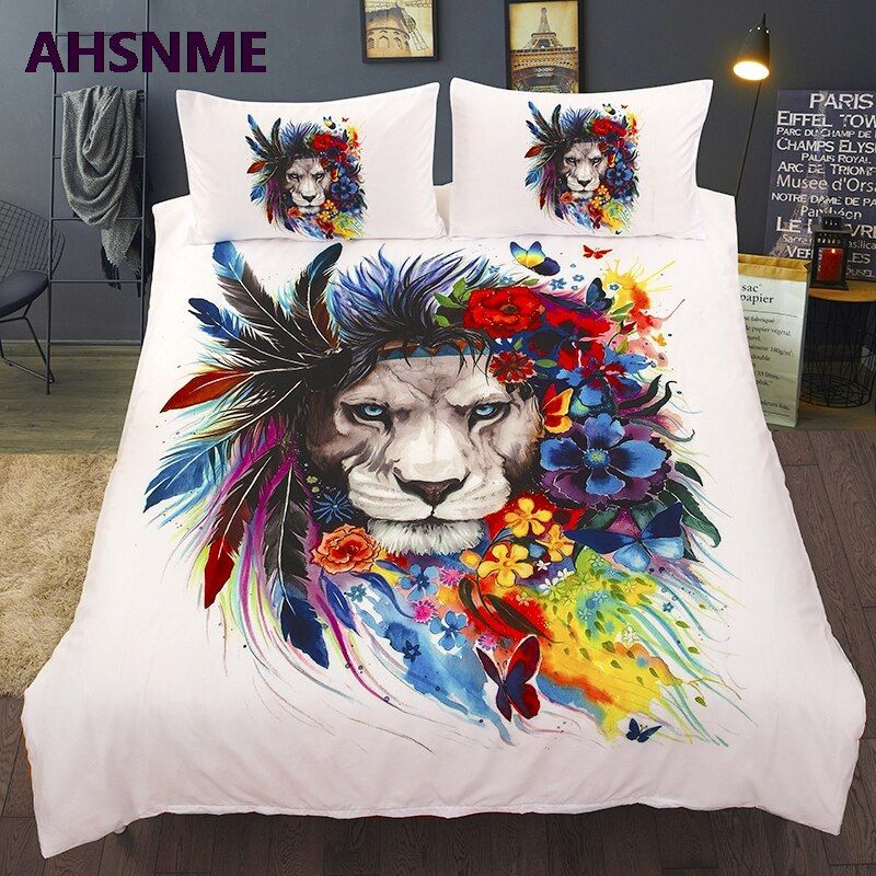 Ahsnme Summer Special Offer 3d Effect Painted Lion Cover Set